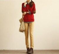 осень и зима женщин ретро хвоствик свитер патч