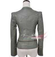 оптовая продажа бренд мода молнии искусственная кожа заклепки плечами бесплатная размер тонкий зеленый с коротким женский пиджак / леди пальто / верхняя одежда 413092