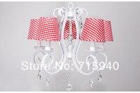 корейский ткань светильник из кованого железа спальня столовая лампы белого хрустальная люстра