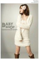 горячая! милый стиль корея удобные с длинным рукавом ватки мини платье топ 0072