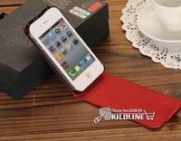 imperator. дом из естественной кожи чехол Flip чехол для iPhone 4 и 4S-бесплатная доставка