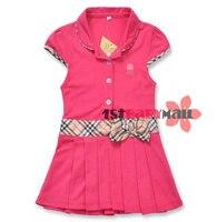 бесплатная доставка! 5 шт./лот девочка мода платье из хлопка 9 цвета с коротким рукавом хлопок бантом ремень платья