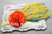 горячая мода корея стиль сетки цветок ободки девушки атласа и перо аксессуар с резинка для волос 5 компл./fd177 лот