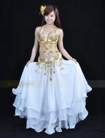 бесплатная доставка ] # 851 новые сексуальное профессиональный танец живота костюм 3 шт. бюстгальтер + + юбка, цвет золотой доступны, один размер