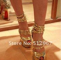 сандалии золото шипованных платформа высокая высокий каблук туфли на высоком каблуке женщины блесточки зеркало каблуки шипы алмаз красный низ обувь