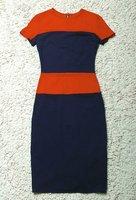 платье облегающее короткая, приезжая воротник-лодочка цвет блок slleve разрез спины с задняя часть молния 3214