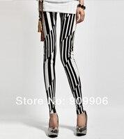 мода легинсы! новые летние женские леггинсы черные белые полосы брюки
