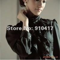 горячая распродажа женская модные белый лотос край шифон блузка / мило с длинным рукавом / бесплатная доставка / высокое качество / g01 колодки