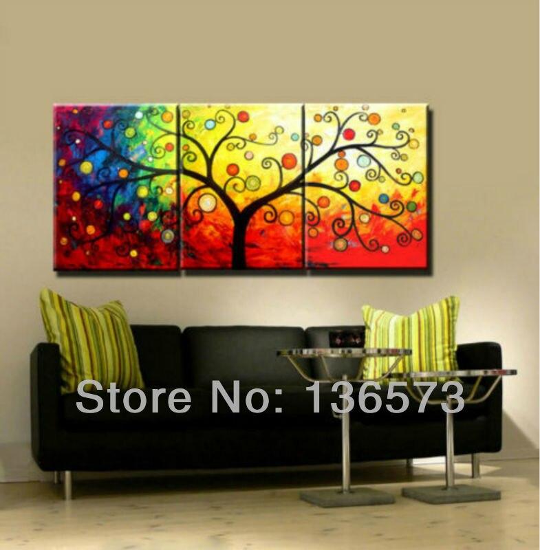 Handmade 3 piece canvas wall art sets money tree oil painting ...