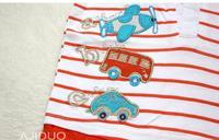 бесплатная доставка ajiduo новое прибытие 1-6 лет мальчиков лето 100% хлопок футболка для ребенка полосатый с коротким рукавом тройник 5 шт./лот