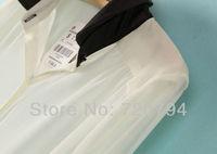 бесплатная доставка шифон сексуальное с длинным рукавом женская блузка