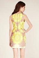 бесплатная доставка женская мода марка тонкий вечернее желтое платье