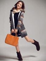 новое поступление женщин свитер милый мода снежинка шаблон дом теплый утолщаются длинный кардиган