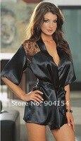 прямая поставка сексуальное белье черного атласа пижамы кружево деталь халат и стринги + бесплатная доставка