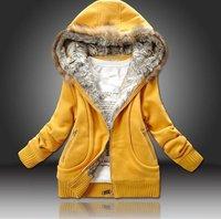 три цвет производители питания женщины мех воротник закрытый воротник свитер женщины одежда м-XL леди пальто, леди одежда
