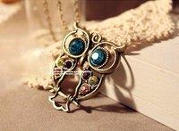 винтаж сова ожерелье свитер цепочка - сова ювелирные изделия # yb047