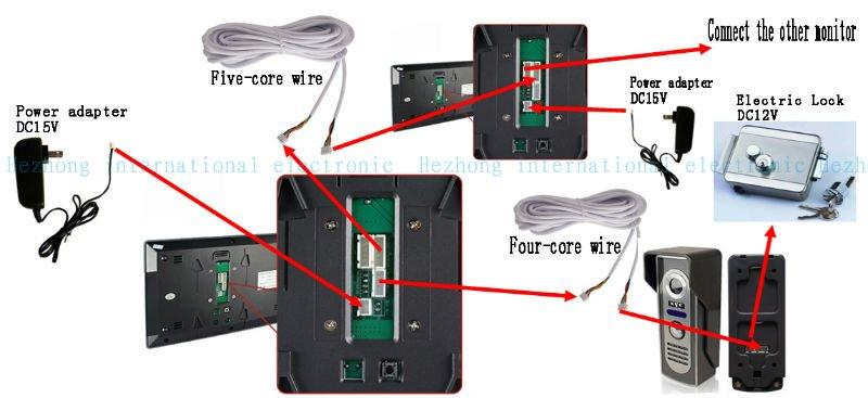 colour video door phone free shipping 7 wire handfree video rh aliexpress com Wireless Video Door Bells godrej video door phone wiring diagram