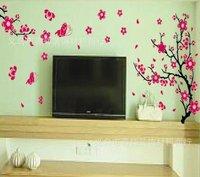красный цветок рукав наклейки на стену w282 44 * 63 см / 17.32 * 28.80 дюймов