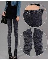 женская снег промывают стрейч империи карандаш джинсы бесплатная доставка