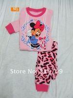 бесплатная доставка новых детей пижамы комплект 100% conton 6 размеры : 18 - 24 / 2 / 3 / 4 / 5й / 6й розовый, детская пижамы