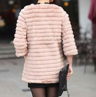 женщины оптовая продажа - мода черный суб 3/4 рукав длинный стиль 100% настоящее колики куртка шею