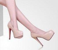 большой размер 34 - 40 Popular мода с красной padova платформа леди ультра туфли на блок женщина туфли на высоком парня и женщин лето осень туфли
