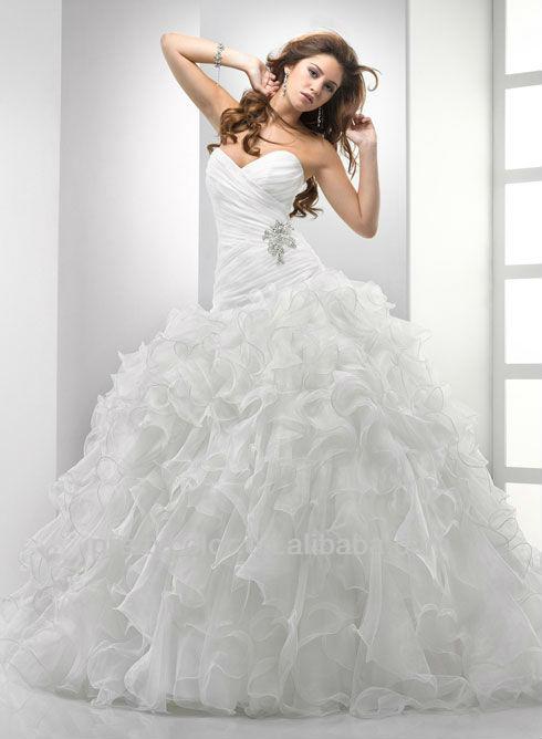 Sweetheart Princess Ball Gown Floor Length Horsehair Pattern Beaded Brooch Drop Waist Wedding Dress