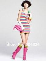 бесплатная доставка 2015 новое поступление корея стиль сексуальные женщины хлопок красочные радуга платье в полоску сарафан