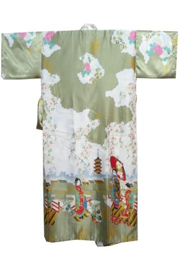 6b986db7f2 Green Vintage Japanese Ladies Kimono Yukata Sexy Silk Rayon Robe Night Gown  Mujer Pijama Plus Size S M L XL XXL XXXL R002 B-in Robes from Women s  Clothing   ...