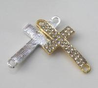 30 шт 36 * 18 мм серебро и золото боком хохол разъемы с кристалл GR rustle для ручной работы браслеты