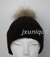 бесплатная доставка вязание шляпа с мех, мода 50% шерсть шляпа с 11 см большой мех енота мяч