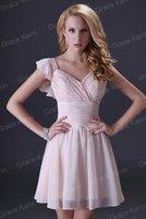 бесплатная доставка грейс карин сексуальный со короткие высокий низкий с V-образным вырезом невесты ну вечеринку платье для выпускного вечера коктеила платья 8 размер cl3471