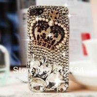 бесплатная доставка Сделай сам элегантный шику корона из жемчужин кристалл алмаза сотовых телефонов чехол для iPhone 4 и 4S