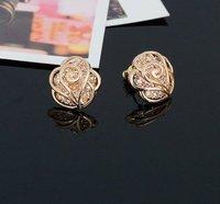 18 к позолоченные ювелирные изделия комплект горный хрусталь с розы в форме