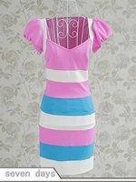 бесплатная доставка новое поступление лето тонкий подходят площадь с V-образным вырезом пуховкой с коротким рукавом блок цвет полосатое платье yl061905pn