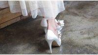 наиболее популярные атлас свадьба на высоких блок с Luck-узел / женская мод платье туфли румяна розового / большой размер : 34 - 41 / бесплатная прямая поставка! gfyl01