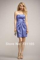 Новый дизайн пользовательских сделал фиолетовый без бретелек рукавов плиссированные мини-свидетельницы платье 100% удовлетворение
