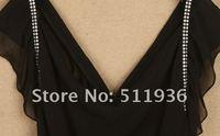 женщин шифон с В-бюстгальтер провода позвоночник кристалл коктейль ну поливать мини платья черный белый бесплатная доставка # b51209