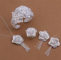 Грудь 925 серебро цветы браслет ожерелье серьги кольцо комплект Cartel ювелирные изделия в s13-19