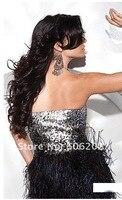 бесплатные доставка, 1 шт./лот, черный без бретелек - выше длина коктейльное платье с блестками лиф и юбка перо # ed679