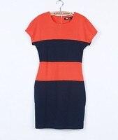 мода женская шеи экипажа цвет блока с Корк slleve разрез облегающее платье с MOL свободного покроя платья a1527