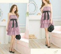 новый резинка бантом торт шифоновое платье фиолетовый, розовый или белый