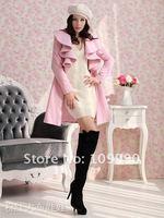 розовый линия пальто женщины вещевой лотоса листья стоит с зануда Splash полный рукав элегантный тёплый зима осень красивый лепесток
