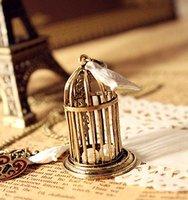 изысканные модные птичья клетка подвеска ожерелья для женщин аксессуары старинные бронзовые позолоченные длинный свитер цепи ожерелье для девочек