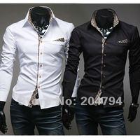80 бесплатная доставка новых людей рубашки свободного покроя уменьшают подходящие стильные мужские рубашки платья цвета черный, белый сша szie установки хѕ, s м