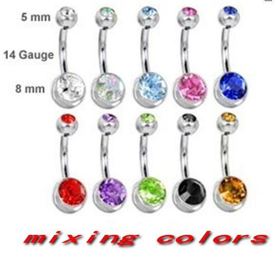 Double Gem Belly Ring Bar Navel Mixing 10 Colors Body Jewelry