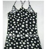 лето одежда белый звезды и черный фон contton футболки леди одетый в майка