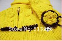 1 шт., корейский дети шарф шляпа перчатка комплект три частей, дети вязание шапки, желтый и красный
