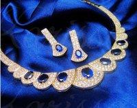 бесплатная доставка женщин металл стоит Sapphire Burton шелк рукав свадебные платья ожерелье установлен первый играть роль содержащих доказано