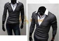 а244 новый arrivs мужская с длинным рукавом свободного покроя тройники футболки искусственного сдвоенными искусственного рубашка воротник хлопок черный / белый / серый